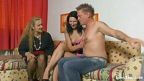 Three naughty chicks cherish effectuation with a firm bushwa on the couch